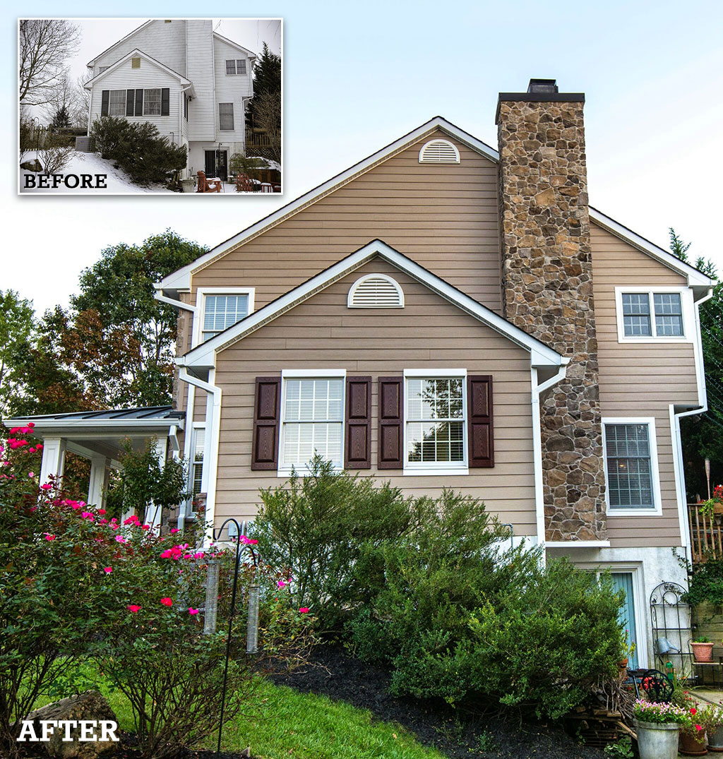 Before and after exterior renovation in Howard County