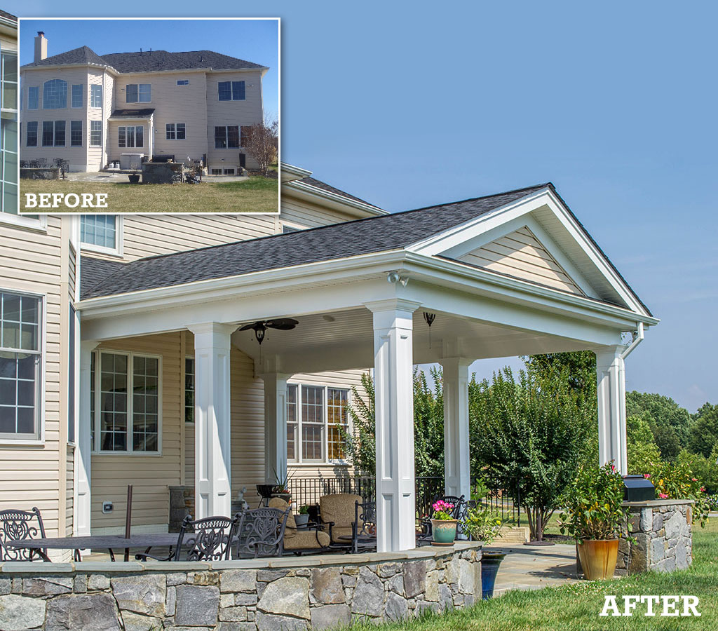 Porch addition - before and after