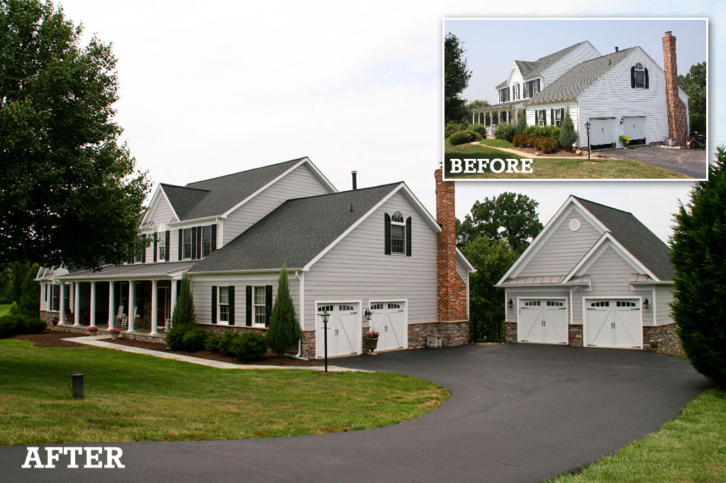 before and after exterior renovation -  garage addition